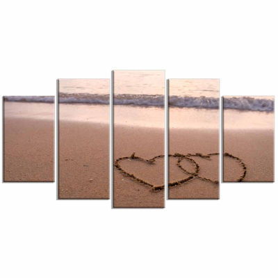 Design Art Two Hearts Drawn On The Beach Seascape Art Canvas - 5 Panels