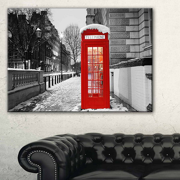 Design Art Red London Telephone Booth Cityscape Canvas Print
