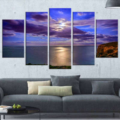 Design Art Moon Reflecting In Blue Sea Modern Canvas Art work - 5 Panels