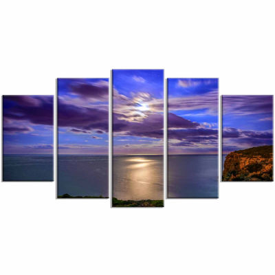 Designart Moon Reflecting In Blue Sea Modern Canvas Art work - 5 Panels