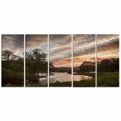 Designart Sunset Over Rydal Waters Landscape Art work Canvas - 5 Panels