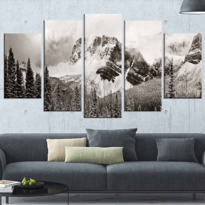 Design Art Snow Capped Hills And Bow Lake Landscape Canvas Art Print - 5 Panels