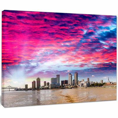 Design Art New Orleans Building And Skyscrapers Modern Cityscape Canvas Wall Art