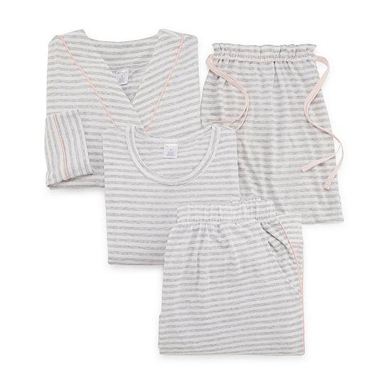 Liz Claiborne Travel Set Womens Short Sleeve 4-pc. Pant Pajama Set -Plus