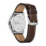 Citizen Disney Mickey Mouse Mens Brown Leather Strap Watch-Aw1599-00w