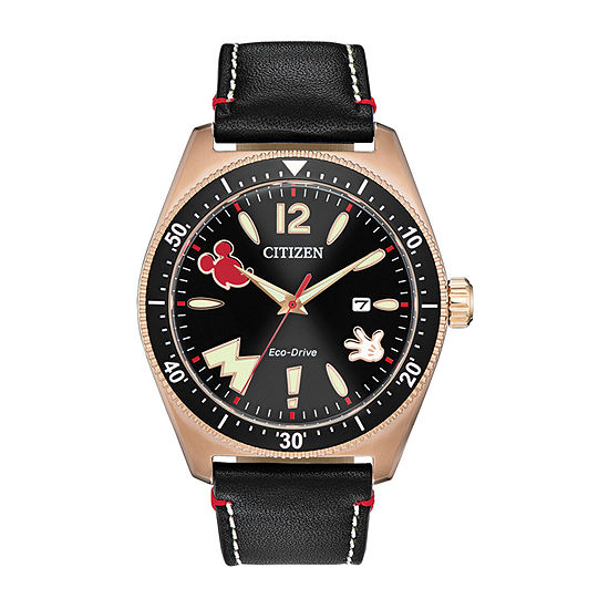 Citizen Disney Mickey Mouse Mens Black Leather Strap Watch-Aw1596-08w