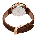 Akribos XXIV Womens Crystal Accent Brown Leather Strap Watch-A-1093br