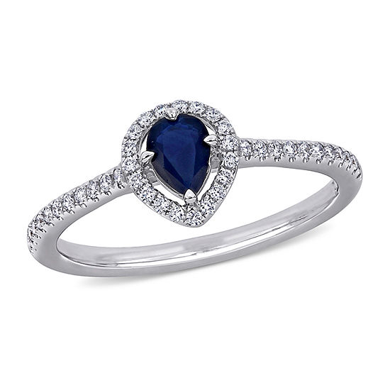 Womens 1/5 CT. T.W. Genuine Blue Sapphire 14K White Gold Engagement Ring