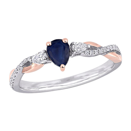 Womens 1/5 CT. T.W. Genuine Blue Sapphire 14K Two Tone Gold Engagement Ring