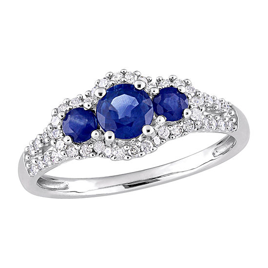 Womens 1/4 CT. T.W. Genuine Blue Sapphire 10K White Gold 3-Stone Engagement Ring