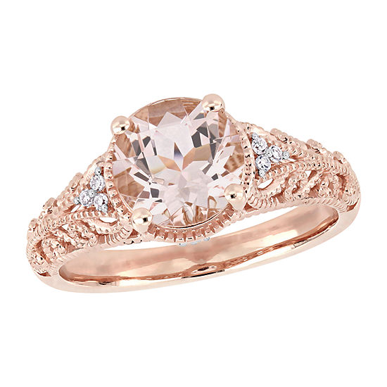 Modern Bride Gemstone Womens Diamond Accent Lab Created Pink Morganite 14K Rose Gold Engagement Ring