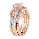 Modern Bride Gemstone Womens 1/4 CT. T.W. Lab Created Pink Morganite 10K Rose Gold Bridal Set
