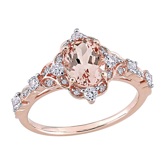 Modern Bride Gemstone Womens Diamond Accent Genuine Pink Morganite 14K Rose Gold Engagement Ring