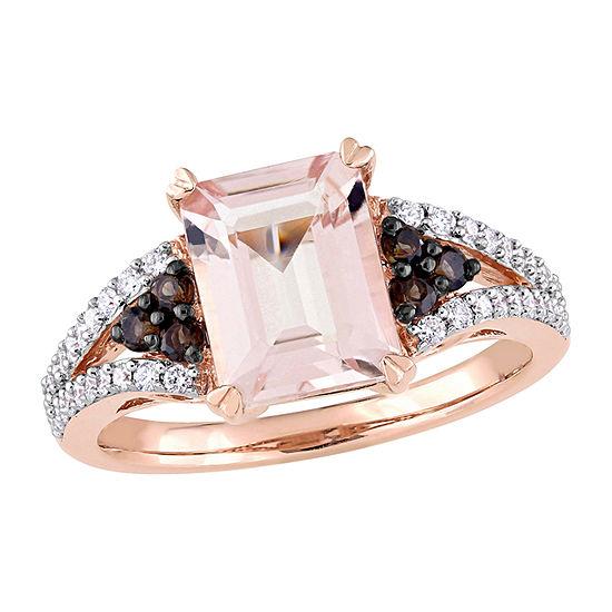 Modern Bride Gemstone Womens 1/4 CT. T.W. Lab Created Pink Morganite 14K Rose Gold Engagement Ring