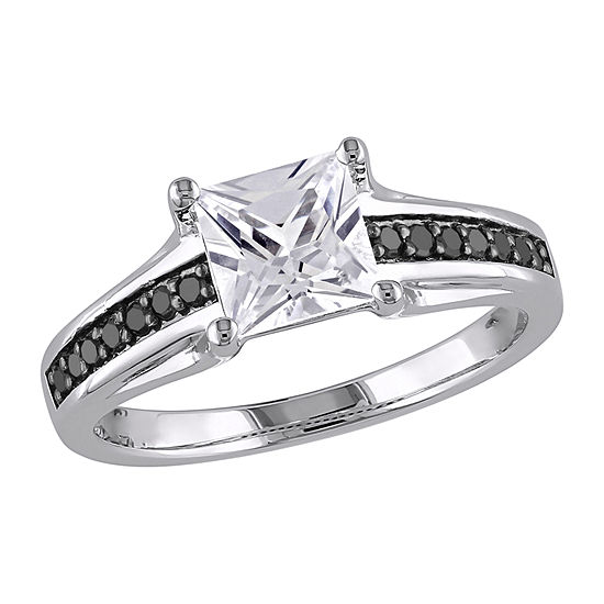 Modern Bride Gemstone Womens 1/7 CT. T.W. Lab Created White Sapphire Sterling Silver Engagement Ring