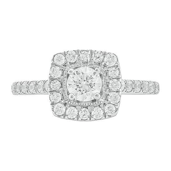 Womens 1 CT. T.W. Genuine White Diamond 10K Two Tone Gold Engagement Ring