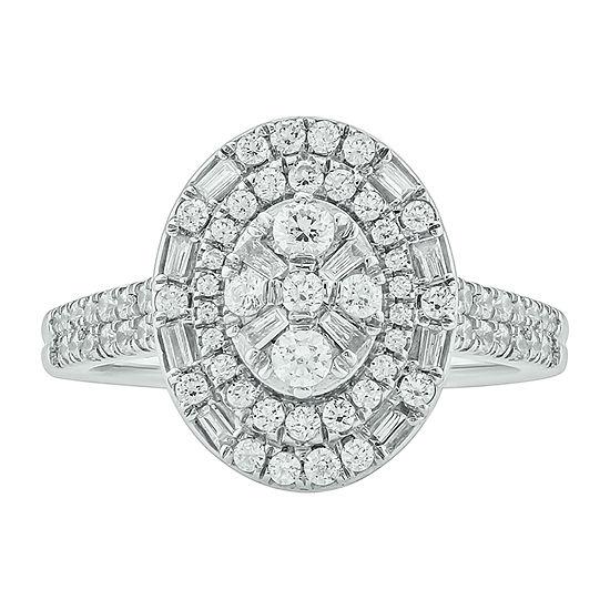 Womens 3/4 CT. T.W. Genuine White Diamond 10K White Gold Engagement Ring