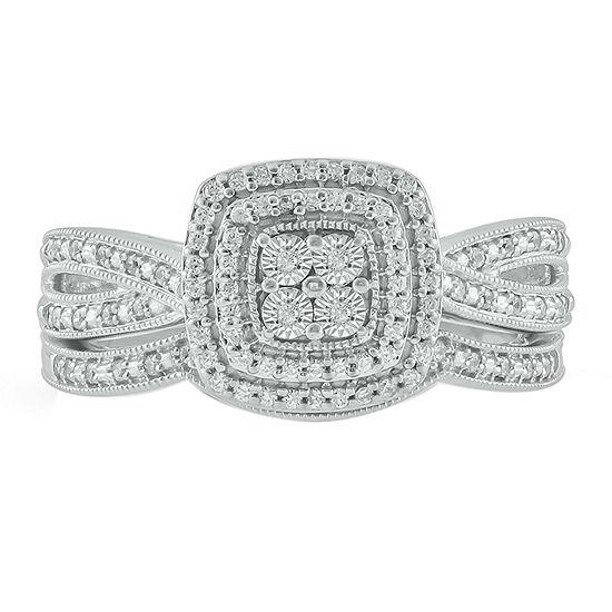 Womens 1/4 CT. T.W. Genuine White Diamond 10K Gold Over Silver Bridal Set