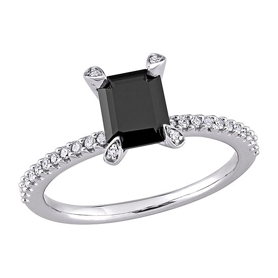 Womens 1/10 CT. T.W. Genuine Black Diamond 10K White Gold Solitaire Engagement Ring