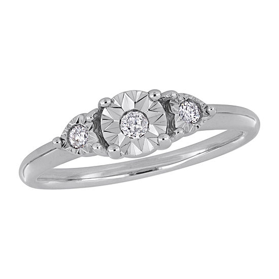 Womens 1/10 CT. T.W. Genuine White Diamond Sterling Silver Solitaire Engagement Ring