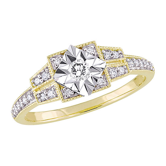Womens 1/4 CT. T.W. Genuine White Diamond 18K Gold Over Silver Engagement Ring