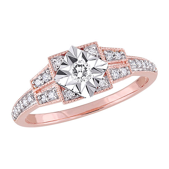 Womens 1/4 CT. T.W. Genuine White Diamond 18K Rose Gold Over Silver Solitaire Engagement Ring