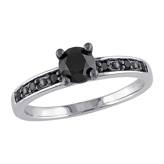 Womens 3/4 CT. T.W. Genuine Black Diamond Sterling Silver Solitaire Engagement Ring