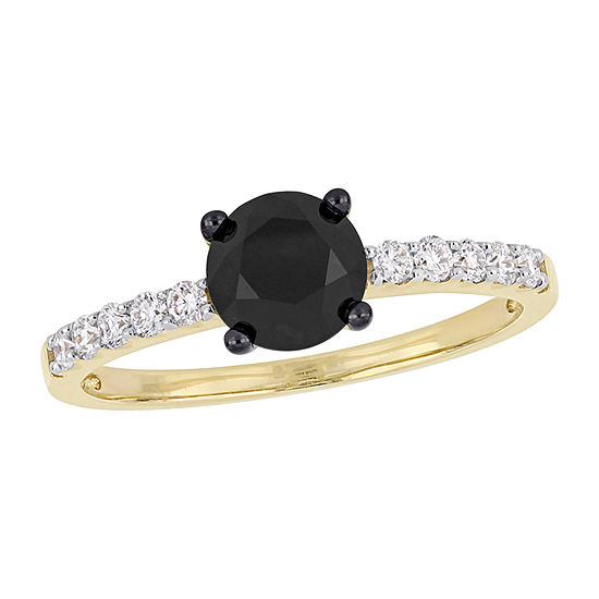 Womens 1/4 CT. T.W. Genuine Black Diamond 14K Gold Solitaire Engagement Ring