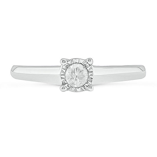Womens 1/4 CT. T.W. Genuine White Diamond 10K White Gold Solitaire Cocktail Ring