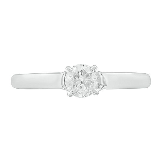 Womens 1/2 CT. T.W. Genuine White Diamond 10K Gold Solitaire Cocktail Ring