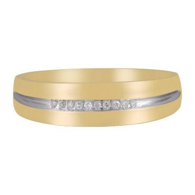 Mens Diamond-Accent 10K Yellow Gold Wedding Band