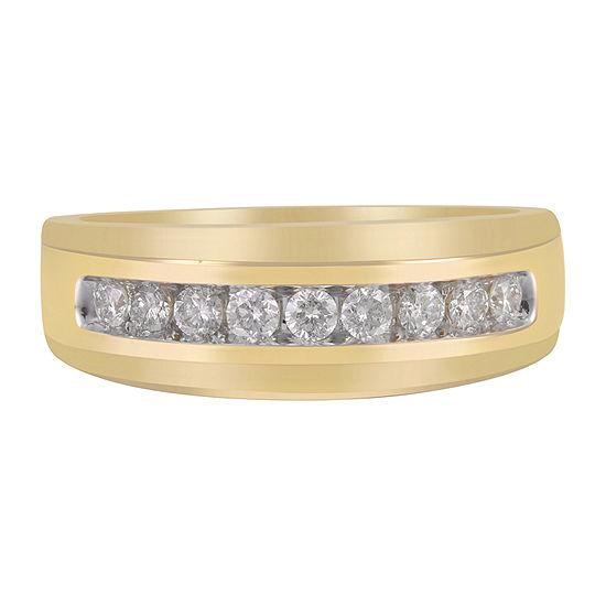 Mens 8MM 1/2 CT. T.W. Genuine White Diamond 10K Gold Wedding Band