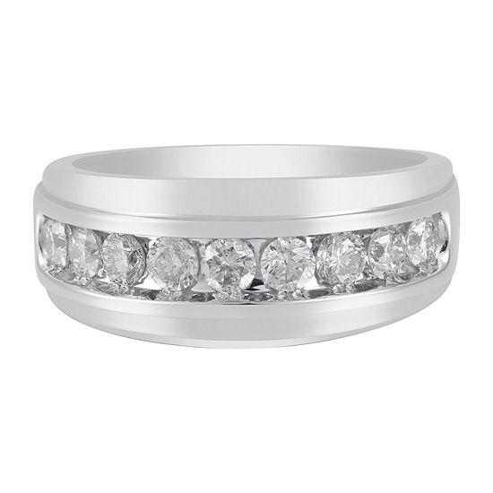 Mens 9M 1 CT. T.W. Genuine White Diamond 10K Gold Wedding Band