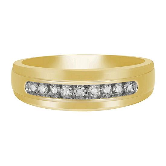Mens 7MM 1/4 CT. T.W. Genuine White Diamond 10K Gold Wedding Band