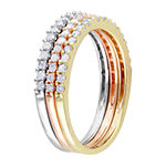 Womens 4.5MM 5/8 CT. T.W. Genuine White Diamond 18K Gold Over Silver Band