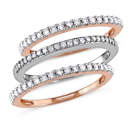 Womens 4MM 1/2 CT. T.W. Genuine White Diamond 10K Tri-Color Gold Band