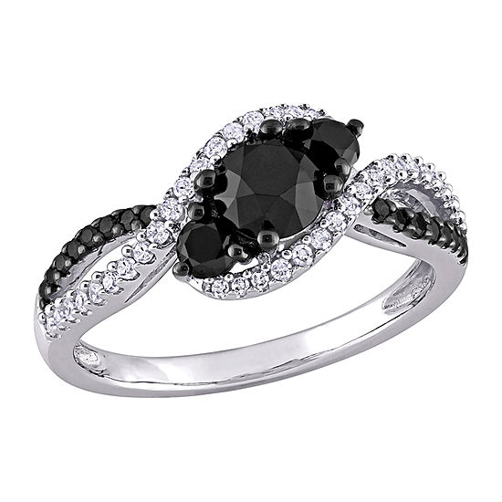 Womens 1/6 CT. T.W. Genuine Black Diamond 10K White Gold Engagement Ring
