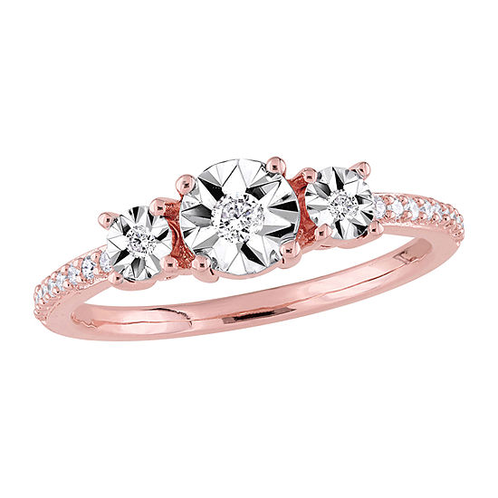Womens 1/7 CT. T.W. Genuine White Diamond Sterling Silver Engagement Ring