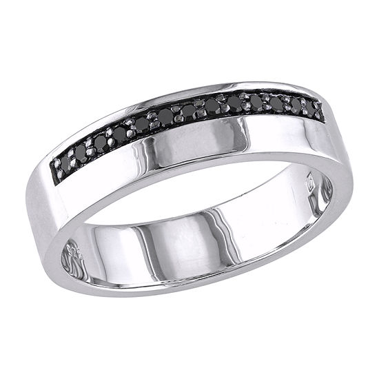 5.5MM 1/5 CT. T.W. Genuine Black Diamond Sterling Silver Band