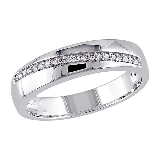 4MM 1/10 CT. T.W. Genuine White Diamond Sterling Silver Band