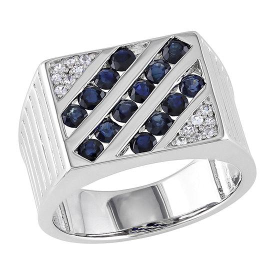 Mens Genuine Blue Sapphire Sterling Silver Fashion Ring
