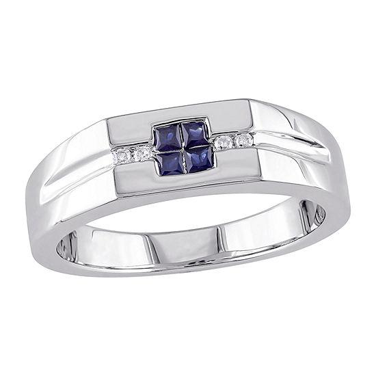Mens Diamond Accent Genuine Blue Sapphire Sterling Silver Fashion Ring