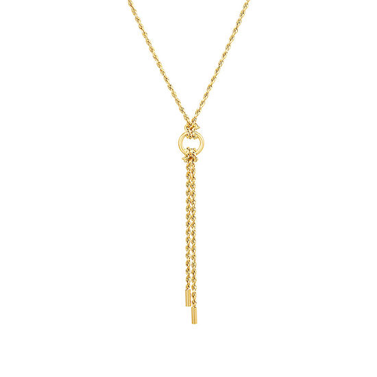 Womens 10K Gold Y Necklace