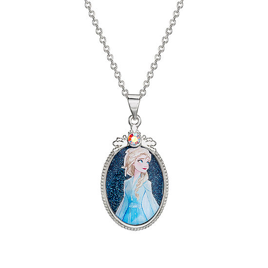 """Disney Girls Sterling Silver Frozen 2 Elsa Oval Glitter Pendant Necklace with 15"""" Chain"""