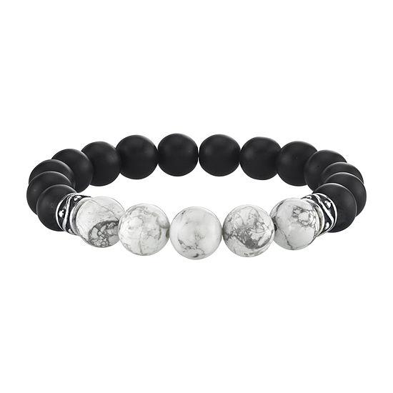 Black Agate Sterling Silver Beaded Bracelet