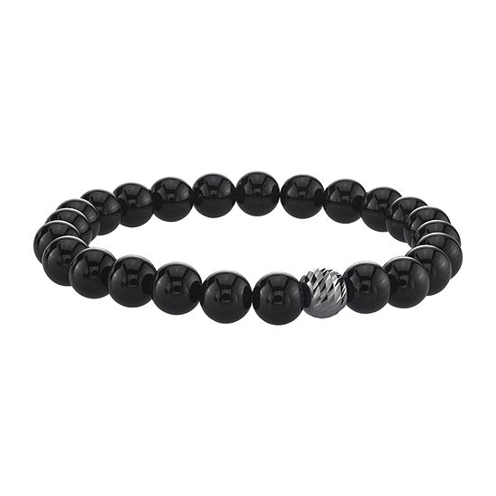 Black Agate Sterling Silver Beaded Bracelet