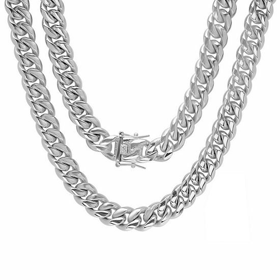 Stainless Steel 30 Inch Semisolid Box Chain Necklace