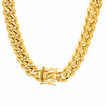 18K Gold Over Stainless Steel 30 Inch Semisolid Box Chain Necklace