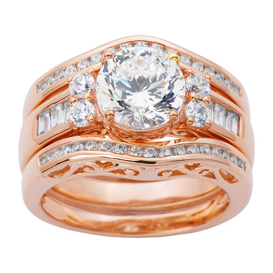 DiamonArt® Womens White Cubic Zirconia 14K Rose Gold Over Silver Bridal Set