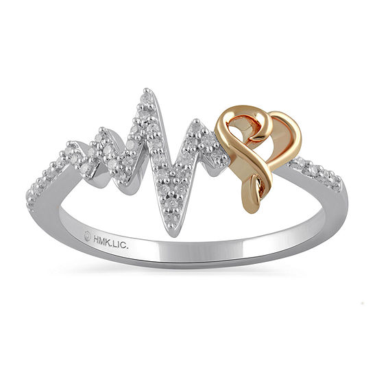 Womens 1/7 CT. T.W. Genuine Diamond 14K Rose Gold Over Silver Heart Delicate Stackable Ring